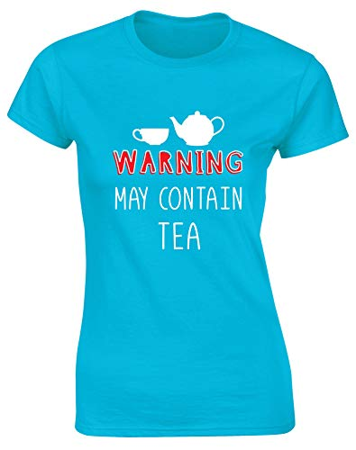 Hippowarehouse Warning May Contain Tea Womens Fitted Short Sleeve t-Shirt (Specific Size Guide in Description) Sapphire Blue