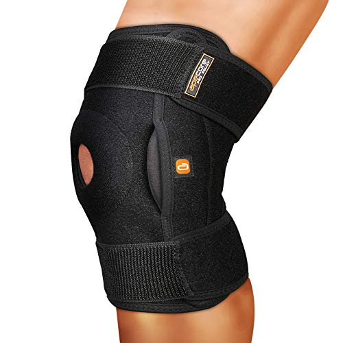 Hinged Knee Brace - PRO Relief for Knee Pain. Adjustable Patella Stabilizing Support for Swollen ACL, Tendon, Ligament and Meniscus Tear Injuries - Compression for Running and Arthritis Joint (Black)