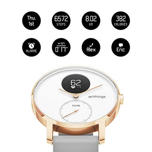 Withings HWA03b-36-RG-S Montre connectée Adulte Unisexe, 36 mm-Rose Gold, 36mm