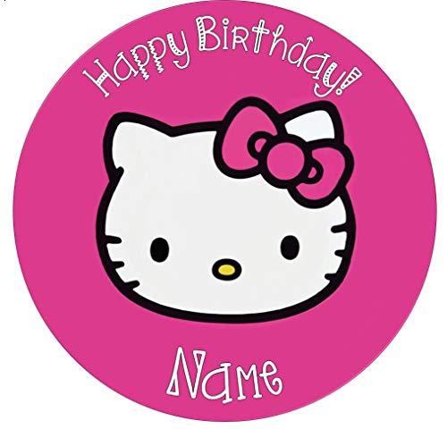 personalisierbar Hello Kitty hell rosa Essbarer Zuckerguss Kuchen Topper 19,1cm vorgeschnittenen, Rund