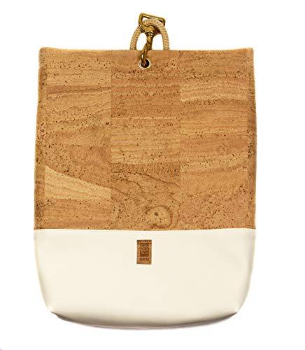 HENTIES Ylva Designer Rucksacktasche – Damen Handtasche aus Kork als Rucksack tragbar – Handmade in Deutschland und 100% Vegan (Creme)