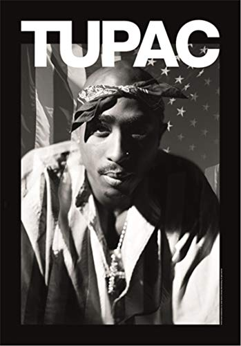 Heart Rock Bandiera Originale 2Pac Stars & Stripes, Tessuto, Multicolore, 110x75x0.1 cm