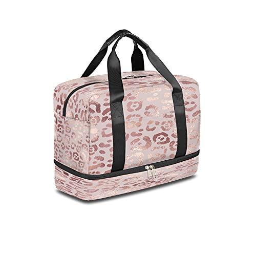 BOLOL - Borsone da viaggio con stampa leopardata, borsa sportiva da palestra, in marmo oro rosa per weekender da uomo e donna