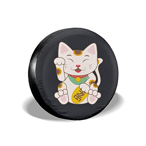 WH-CLA Wheel Tire Cover Japan Lucky Cat Impermeable A Prueba De Polvo 4 Tamaños Cubierta De Neumático De Repuesto Protectores De Rueda Cubierta De Neumático De Rueda Universal para Camió 14in/60~69cm