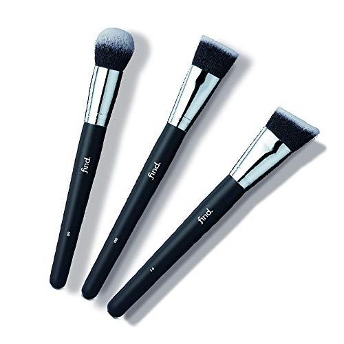 Marca Amazon - find. Kit de brochas de contorno: brocha para base de maquillaje, brocha para polvo bronceador y brocha de contorno (3 brochas) - n.º 08, n.º 09, n.º 14