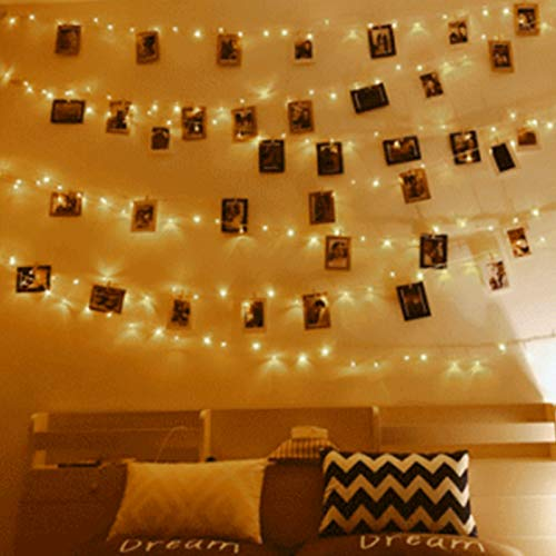 Anpro Clip de Cadena Luces LED Foto, 11M 110 LED,Tira de LUZ,Guirnaldas Luminosas para Pared,Fiesta,Boda,Habitación,Navidad