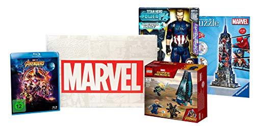 Marvel Avengers Box mit Fanartikeln von LEGO, Hasbro, Ravensburger und Avengers: Infinity War Blu-ray, limitierte Edition