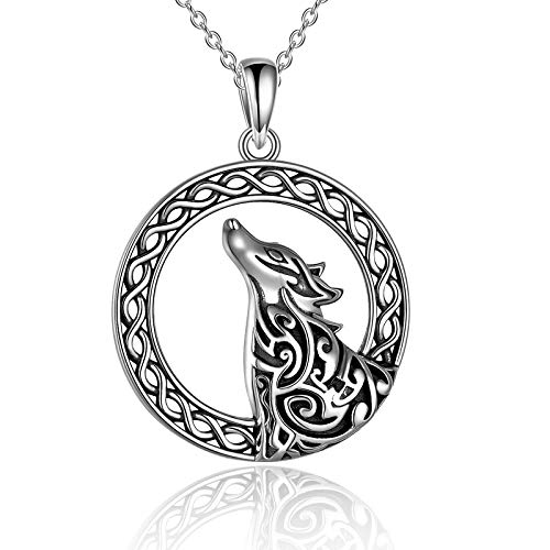 YFN Wolf Necklace Sterling Silver Wolf Pendant Necklace Celtic Wolf Head Jewelry Gifts for Women