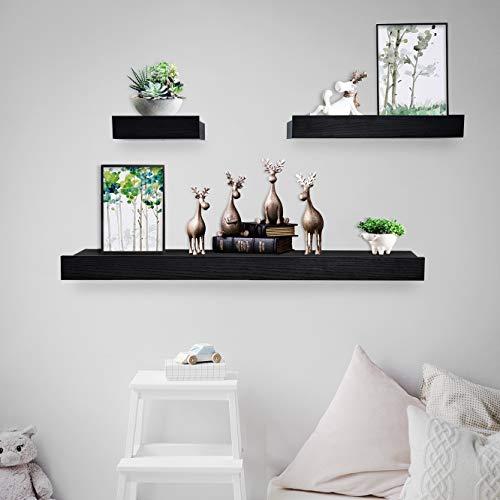 Coismo Set of 3 Multi Length Floating Shelves, Black