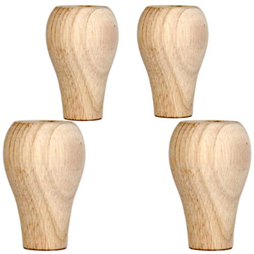 GOHHK Furniture Legs, Solid Wood Furniture Replacement Legs, Unfinished Bun Feet, Round Finished Wooden Legs, for Kitchen/Couch/Sofa/Ottoman/Tv Stand/Loveseat/Dresser/Chair/Stool/Bookshelf