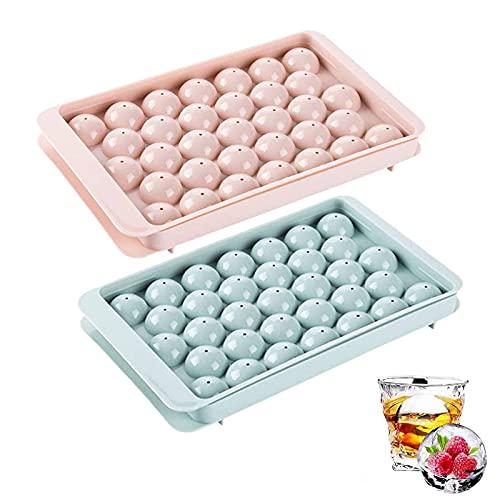 ZOVCO Molde de silicona para cubitos de hielo, 2 bandejas de caja de hielo de 33 cuadrículas, moldes de bolas de hielo para hacer cola, whisky, vino, zumo, etc.