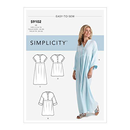 Simplicity SS9102U5 Schnittmuster S9102 Caftan und Kleider für Damen, verschieden, U5 (16-18-20-22-24)
