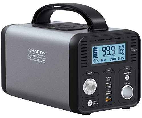 CHAFON 330W Portable Power Station,296Wh CPAP Backup Lithium Battery Pack,110V AC Outlet/12V Car Port,USB-C Power Delivery,Wireless Charger,QC 3.0 Fast Charging for Road Trips,Camping(Grey)