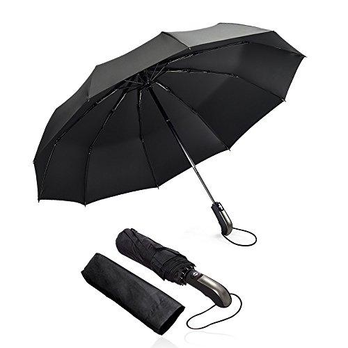 omitium Ombrello Pieghevole Automatico, Antivento Pioggia Ombrello Portatile Resistenza Compatto Pioggia Ombrello da Viaggio di Alta qualità Ombrello per Uomo e Donna Maniglia Non Scivolosa - Nero