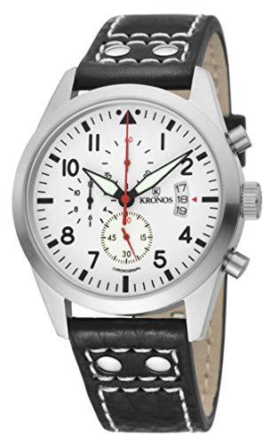 KRONOS - Pilot Sport Chronograph White 948.35 - Reloj de Caballero de Cuarzo, Correa de Piel Negra, Color Esfera: Blanca