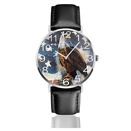 Reloj de Pulsera Bandera Americana Águila en Balas Durable PU Correa de Cuero Relojes de Negocios de Cuarzo Reloj de Pulsera Informal Unisex