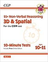 11+ CEM 10-Minute Tests: Non-Verbal Reasoning 3D & Spatial - Ages 10-11 Book 2 (with Online Ed)