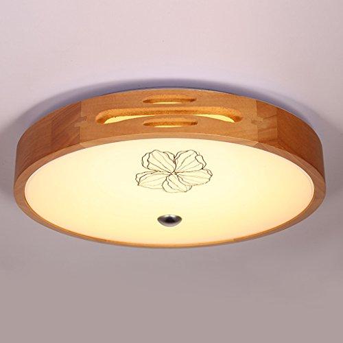Ywyun Plafonnier moderne en bois massif de LED, simple rond créatif Salon Chambre Balcon Lustre décoratif (Size : 60 * 12cm)