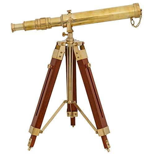 aubaho Teleskop Fernrohr Fernglas Messing mit Holz-Stativ 45cm Antik-Stil