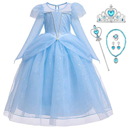 O.AMBW Vestido de Princesa para Niñas Vestido con Perlas Cosplay Miss Princesa Dama de Honor Fiestas Disfraces y Accesorios Reyes Magos Halloween para Niñas de 2 a 9 años