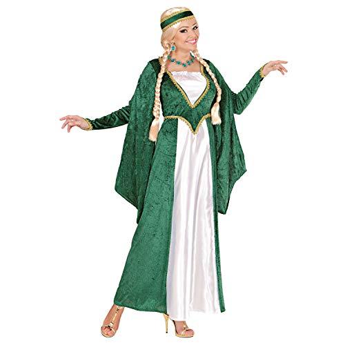 Widmann 59662 - Kostüm Königin der Renaissance, Kleid und Kopfbedeckung, grün-weiß, Samtoptik, Prinzessin, feine Dame, Verkleidung, Karneval, Mottoparty
