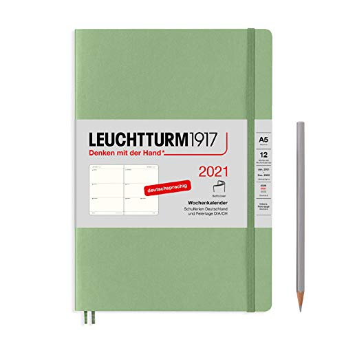 LEUCHTTURM1917 362021 Salbei, Wochenkalender, Softcover, Medium (A5) 2021, Deutsch