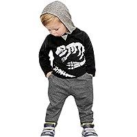 Ropa bebé Impreso Sudaderas con Capucha Tops de Pequeño Niños Niñas Bebés + Pantalones Conjunto de Trajes12 Mes - 5 Años (Negro, Tamaño:2 Años)