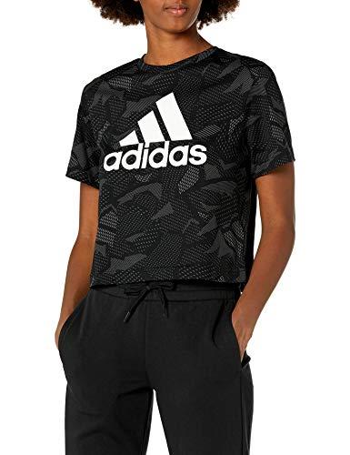 adidas Essentials all Over Print T-Shirt, Nero/Bianco, M Donna