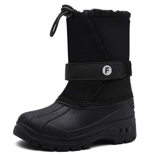 aeepd Boys Girls Waterproof Winter Snow Boots Kids Outdoor Mid Calf Boots (Toddler/Little Kid/Big Kid) Black