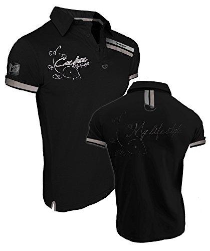 """'Hot Spot Design Polo """"Carper, My Lifestyle, noir, Carpe Pêcheurs Polo Chemise, noir"""