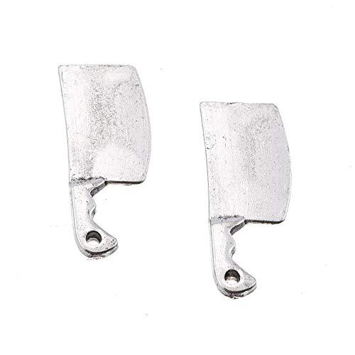 60pcs Antique Silver Plated Kitchen Charm Knife Meat Cleaver Charms Pendant DIY Bracelets Necklace...