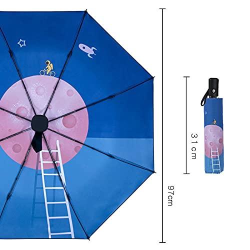 MUYAO Paraguas De Lluvia Completamente Automático, Pareja De Dibujos Animados Doble, Estudiante, Paraguas Plegable