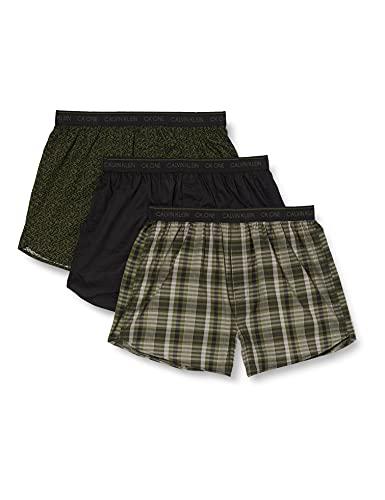 Calvin Klein Herren Boxer Slim 3pk Boxershorts, Pixel Print/Schwarz/East Plaid, S