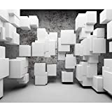decomonkey Fototapete 3d Effekt 350x256 cm XL Tapete Fototapeten Vlies Tapeten Vliestapete Wandtapete moderne Wandbild Wand Schlafzimmer Wohnzimmer Steinwand Modern