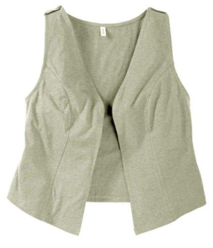 Sheego Damen Zipfel Weste Kurz leichte Shirtweste Ohne Verschluss 5 Farben (48, grau)