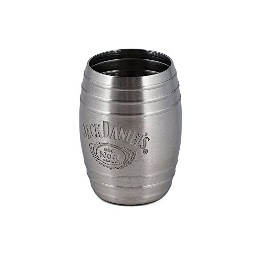 Jack Daniel's Barrel Stainless Steel Shot Glass Etched Swing Cartouche Logo 2oz
