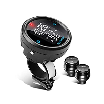 STEEL MATE Motorcycle Tire Pressure Monitor System - Universal Motorcycle TPMS Oversized LCD Screen with Display Time in Real Time and Tire Pressure Reading System from STEELMATE