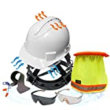 KwikSafety (Charlotte, NC) TURTLE SHELL COMBO (10 Vents) Standard Cap ANSI Hard Hat, Safety Glasses, Sunshade, Sweatband & Earplugs Construction Work PPE, Type1, Class C, WHITE