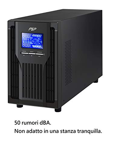 FSP PPF8001305 Fortron Champ Tower 1k, autentico UPS online a doppia conversione 1000 VA/900 W, da 200 a 300 VAC, con USB, RS-232 e slot intelligenti per ulteriori interfacce, nero