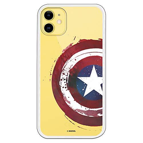 Funda para iPhone 11 Oficial de Marvel Capitán América Escudo Transparente para Proteger tu móvil. Carcasa para Apple de Silicona Flexible con Licencia Oficial de Marvel.
