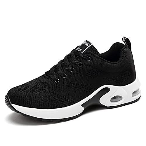 [HC STOER] スニーカー レディース ウォーキングシューズ 運動靴 クッション性 軽量 通気 スポーツ ランニング 通勤 (ブラック/22.5)