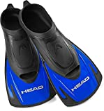 HEAD by Mares Italian Design Swim Training Fins Flippers, Designed Blade to Increase Leg Strength and Speed with Snorkel Gear Bag, Black/Blue, Men's, 9.5-10.5 / Women's 10.5-11.5 (450000-SF034BL)