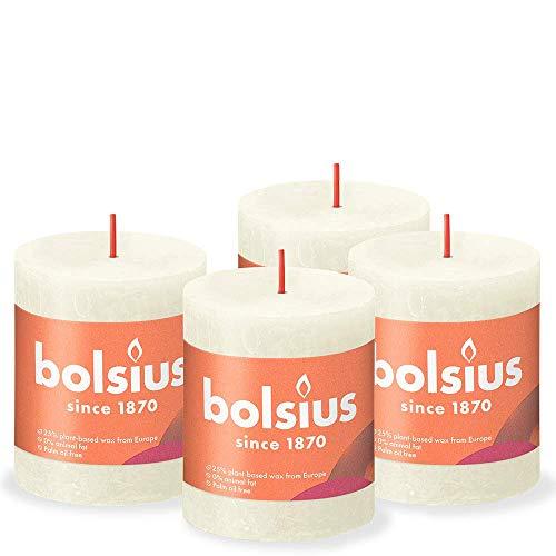 BOLSIUS Rustic Pillar Candle, Ivory, 8 x 7 cm (Pack 4)