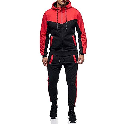 Herren Jogginganzug klassisch Patchwork Sportanzug Sporthose+Hoodie, Männer Trainingsanzug Freizeitanzug Reißverschlussjacke mit Kapuze und Taschen Hoodie-Sporthose Jogging-Anzug Trainings-Anzug