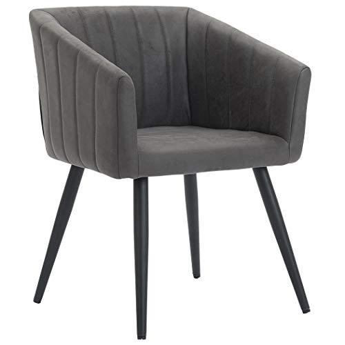 Duhome Esszimmerstuhl aus Stoff Lederoptik Dunkel Grau Farbauswahl Retro Design Stuhl mit Rückenlehne Sessel Metallbeine 8065