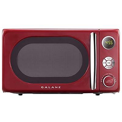 Galanz GLCMKA07RDR-07 Microwave Oven, LED Lighting, Pull Handle Design, Child Lock,Retro Red, 0.7 Cu Ft