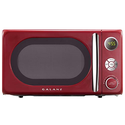 Galanz GLCMKA07RDR-07 Microwave Oven, LED Lighting, Pull Handle Design, Child Lock,Retro Red, 0.7 Cu.Ft