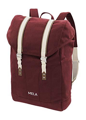 MELAWEAR MELA V Rucksack aus Bio Baumwoll Canvas - Hochwertiger Damen & Herren Tagesrucksack aus 100% nachhaltigen Materialien - GOTS & Fairtrade, Farbe:burgunderrot