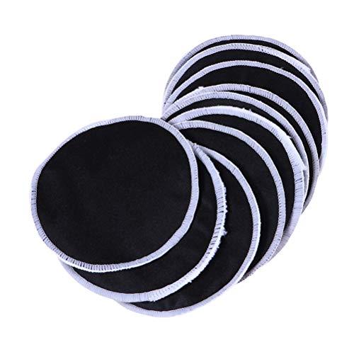 Lurrose 14pcs coussinets de démaquillant en fibres de bambou réutilisables tours de coton doux pour le visage lingettes propres pour cosmétiques (noir)