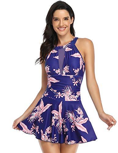 Zexxxy Costume da Bagno Tankini Gonna Bikini Set Beachwear Push Up Halter Swimsuit da Mare Spiaggia Piscina XL ZEX02140-4